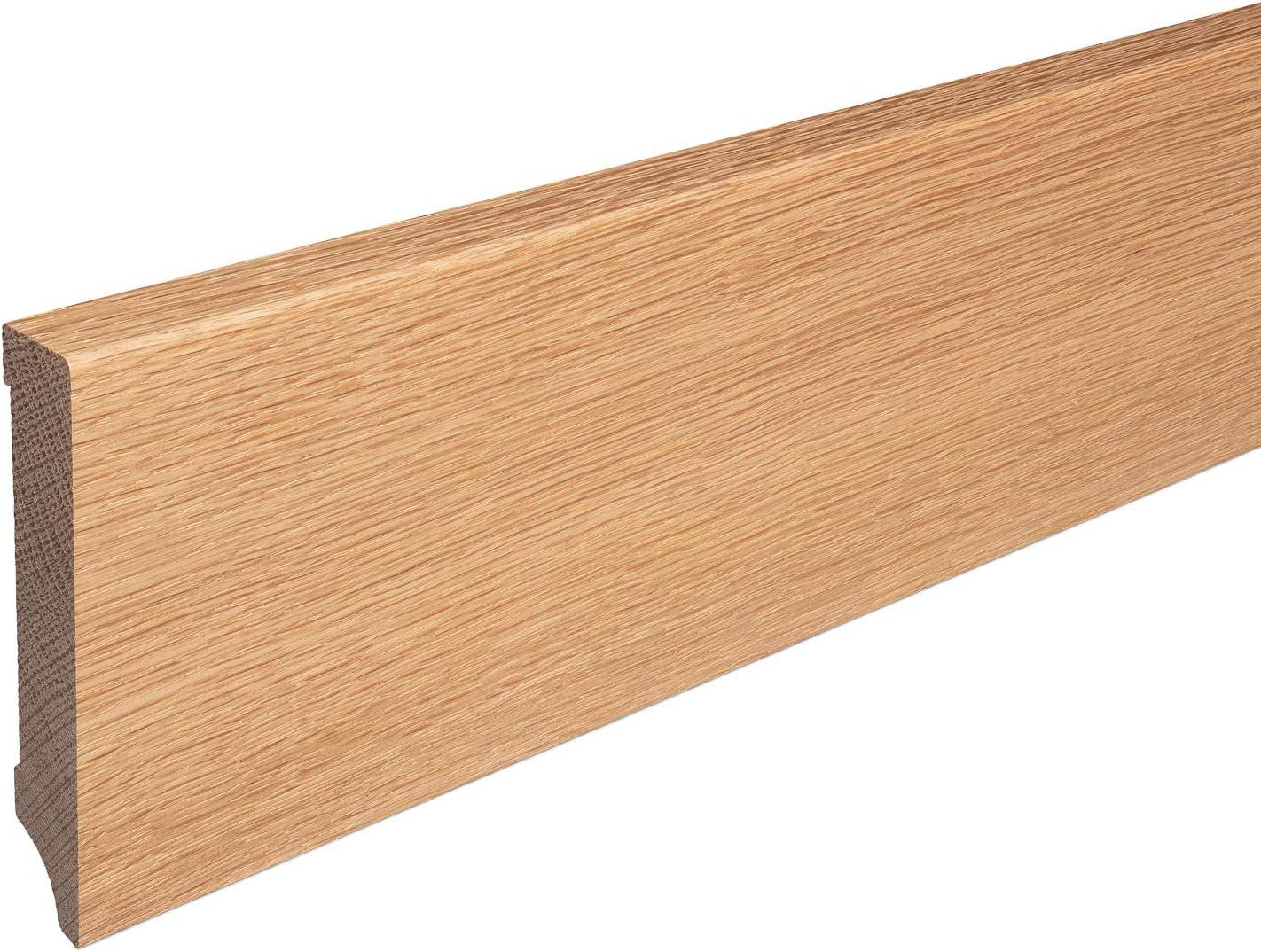 Sockelleisten aus Massivholz Eiche ge/ölt Weimarer Profil Modern SPARPAKET 60mm H/öhe, Musterst/ück//ca. 10cm