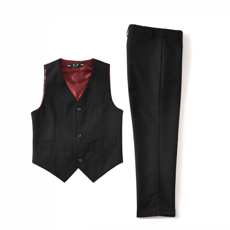 Yuanlu Kids Boys' Formal Vest and Pants Dress Suits Set for Party Black Size 2T