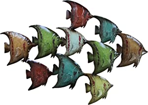 Benzara, Multicolor BM05387 Three Dimensional Metal Fish Wall Decor