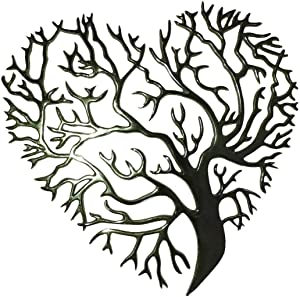 "Love Tree of Life Wall Art - 12x12"" Art Sculpture - Heart Shaped Family Tree Wall Decor - Metal Decorative Wall Art for Kitchen, Living Room and Outdoor Wall Decor - With Keyhole for Hanging ,Arbol de la vida para la pared"