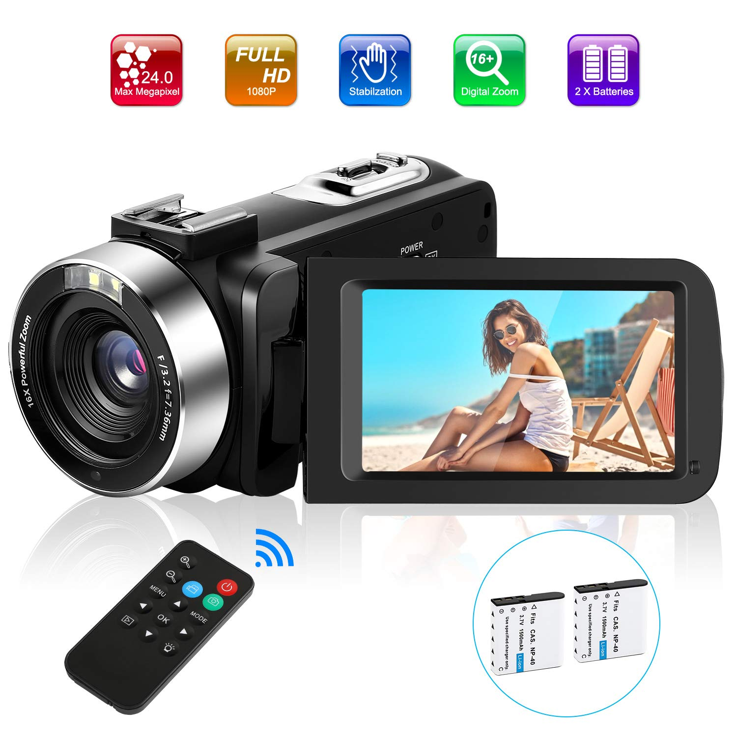 Video Camera Camcorder, Comkes Digital Vlogging Camera for YouTube Full HD 1080P 30FPS 24.0MP 16X Digital Zoom HD Camcorder with 2 Batteries and Remote Control