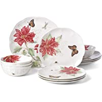 Deals on Lenox Butterfly Meadow Christmas Poinsettia 12 Piece Set