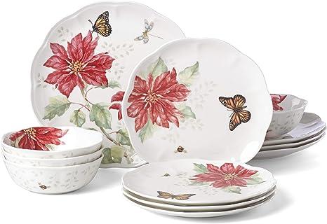 Lenox Butterfly Meadow Christmas Poinsettia 12 Piece Dinnerware Set Dinnerware Sets