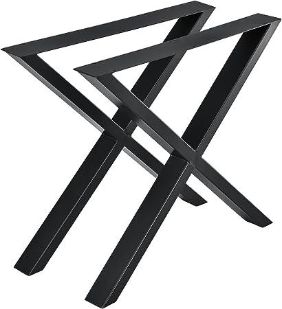 En Casa Set De 2 Pieds De Table Pied De Meuble Metal Forme X Pied