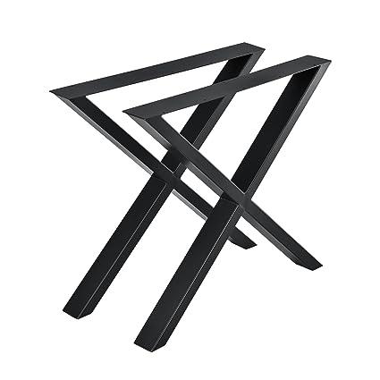 Pieds De Table En Metal.En Casa Set De 2 Pieds De Table Pied De Meuble Metal Forme X Pied De Table A Manger Noir 79 X 72 Cm Avec Protecteur De Sol Et Accessoires De Montage