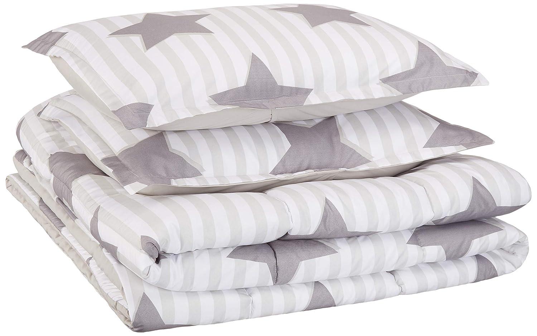 AmazonBasics Kid's Comforter Set - Soft, Easy-Wash Microfiber - Full/Queen, Grey Stars
