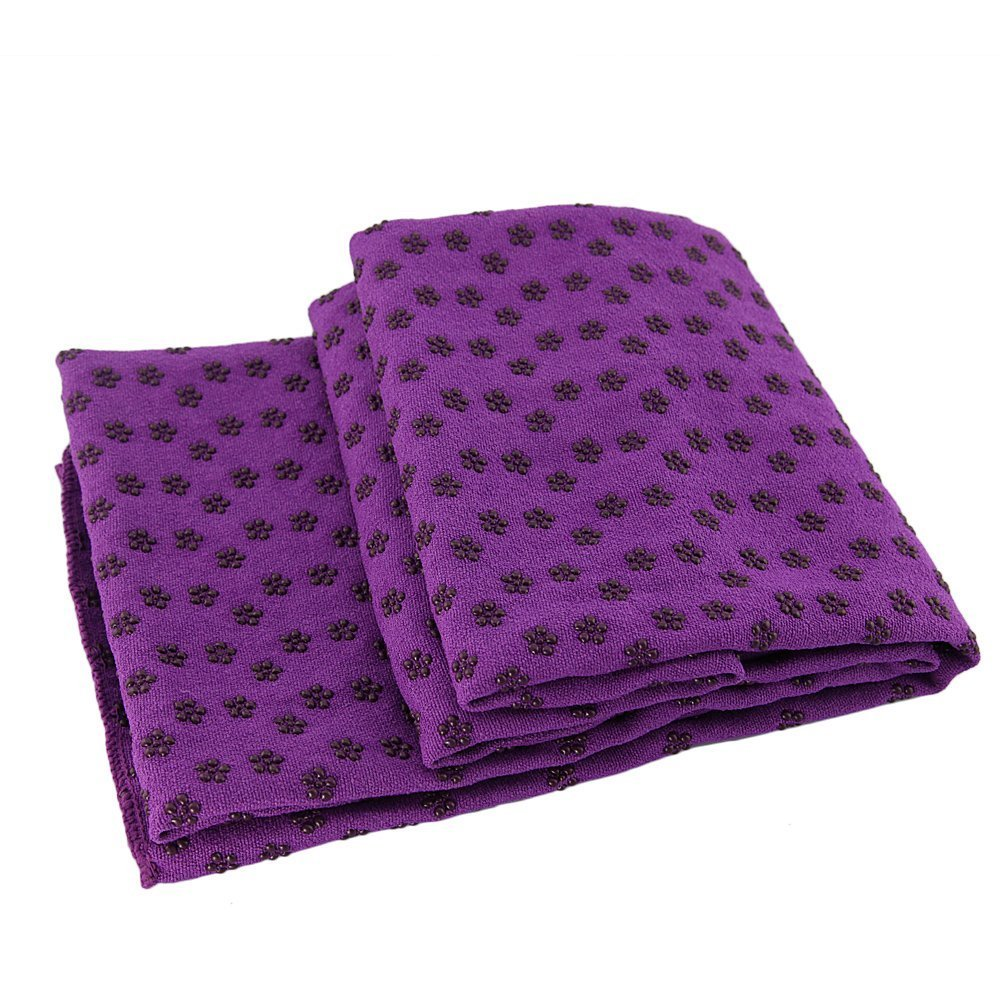 Hot Yoga Mat Toalla Manta antideslizante Con Los Puntos de placas de silicona + Mesh Carry Bag Purple 72