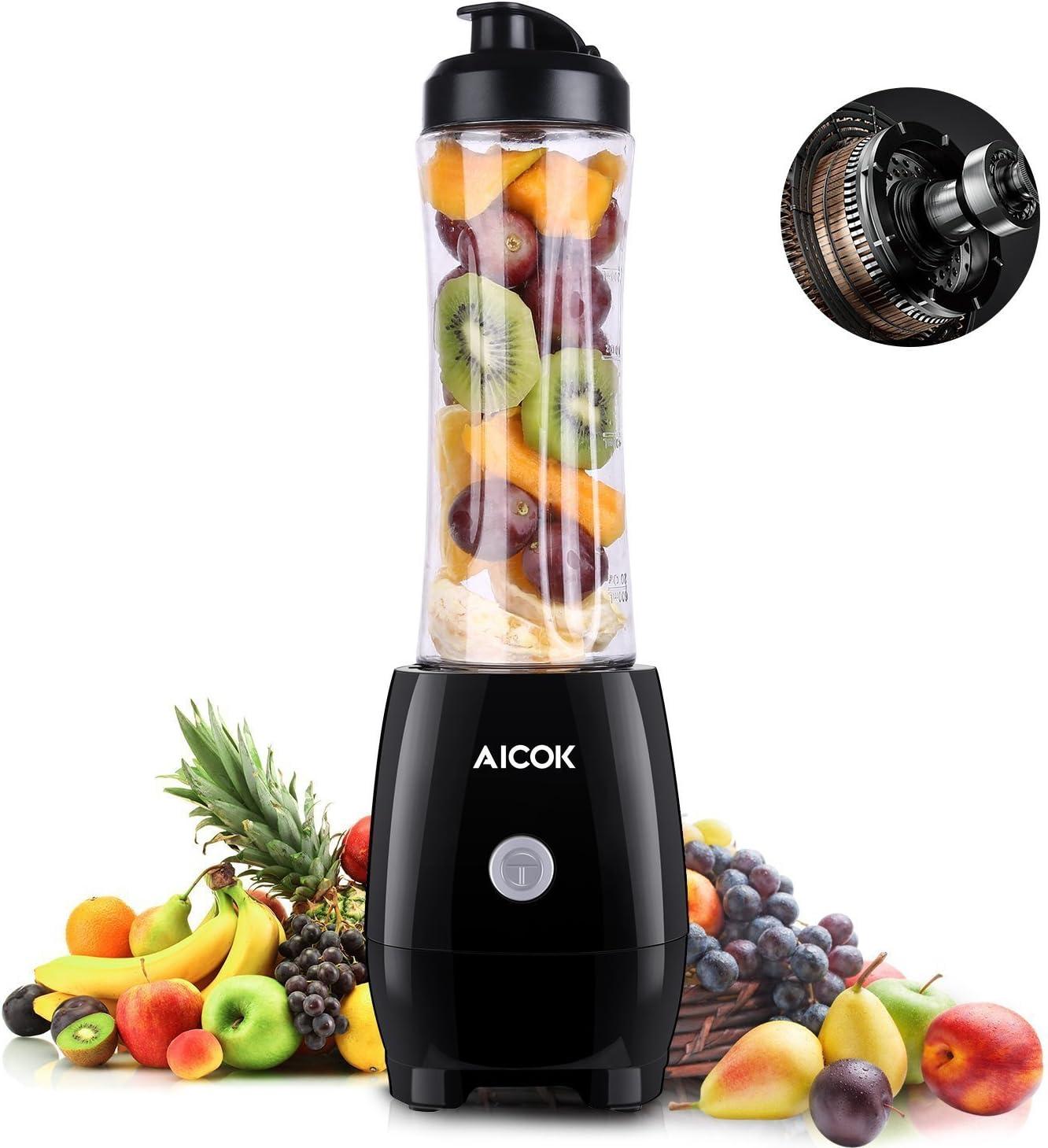 Aicok Mini batidora Individual, Portátil Batidora de vaso 600ml, para Smoothies, Zumos de Fruta y Verdura, Milkshake, 300W, Libre de BPA, Negro: Amazon.es: Hogar
