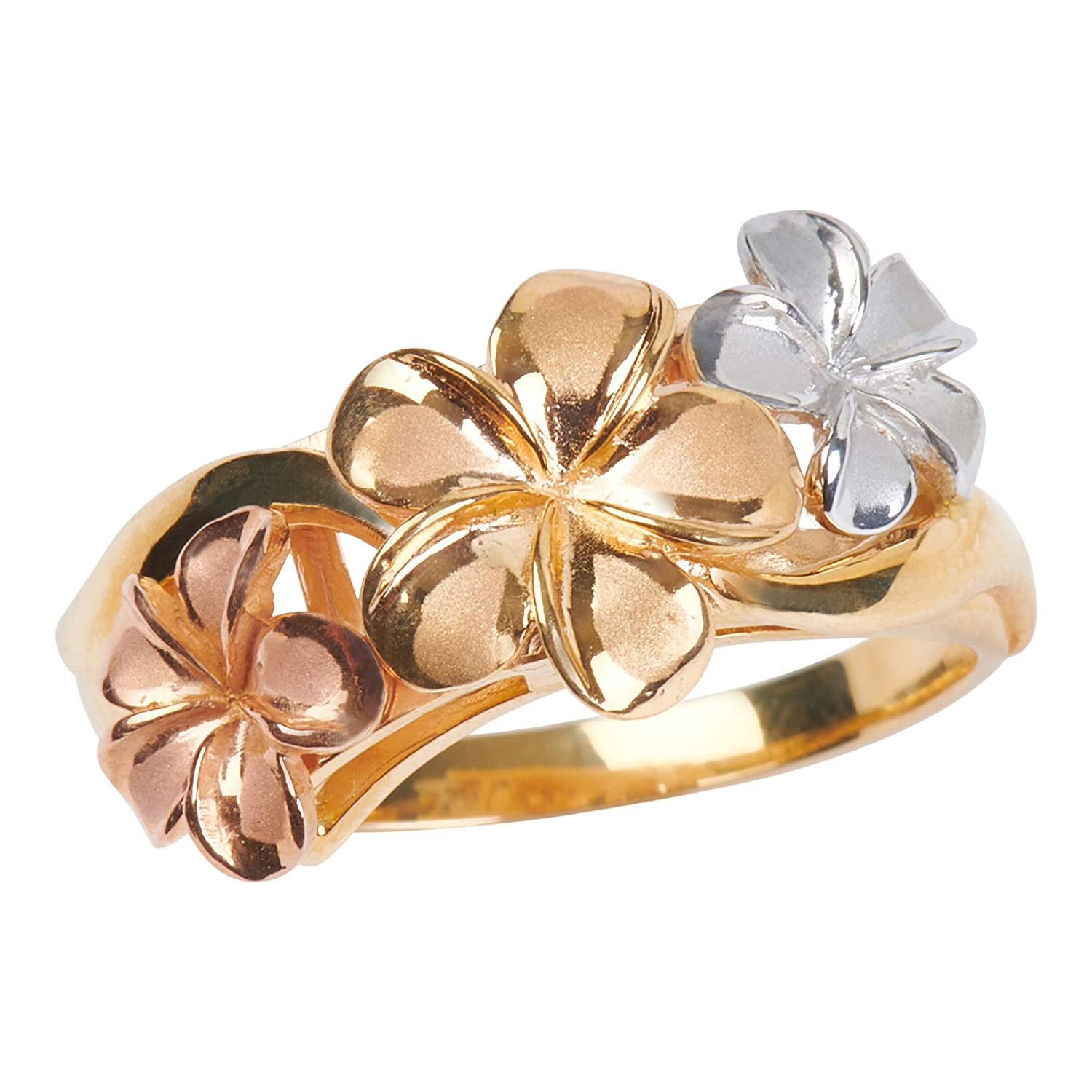 Hawaiian Heirloom Jewelry White Pink and Yellow 14k Gold Plumeria Flower Ring