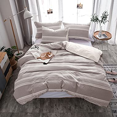 Lausonhouse Cotton Duvet Cover Set,100% Cotton Yarn Dyed Strip Comforter Cover with 2 Pillowshams, Queen Size