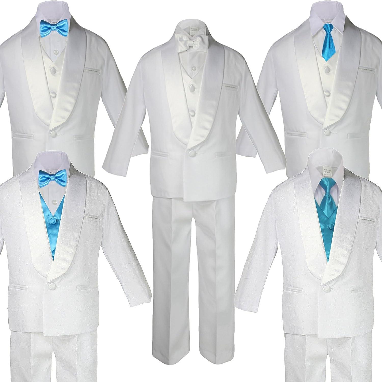 : 5 7pc Boy White Satin Shawl Lapel Suits Tuxedo