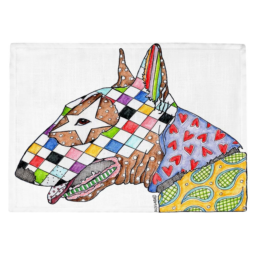 DIANOCHEキッチンPlaceマットby Marley Ungaro – ブルテリア犬 Set of 4 Placemats PM-MarleyUngaroBullTerrier2 Set of 4 Placemats  B01EXSIVJ6
