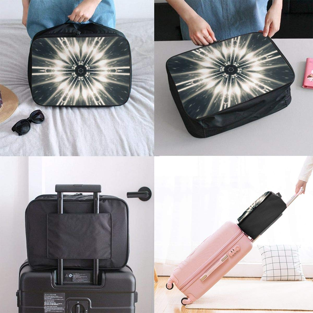 Abstract Surreal Texture Geometry Travel Lightweight Waterproof Foldable Storage Carry Luggage Large Capacity Portable Luggage Bag Duffel Bag