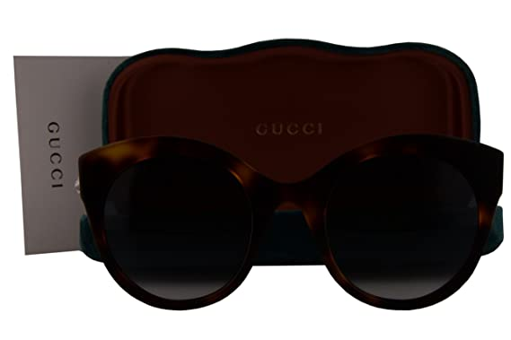 4c584e1d7d Amazon.com  Gucci GG0028S Sunglasses Shiny Havana w Green Gradient ...