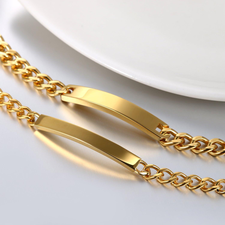 JewelryWe Schmuck 2pcs Herren Damen Armband mit Gravur Edelstahl Gl/änzend Poliert Silber//Gold Lieben Freundschaftsarmband