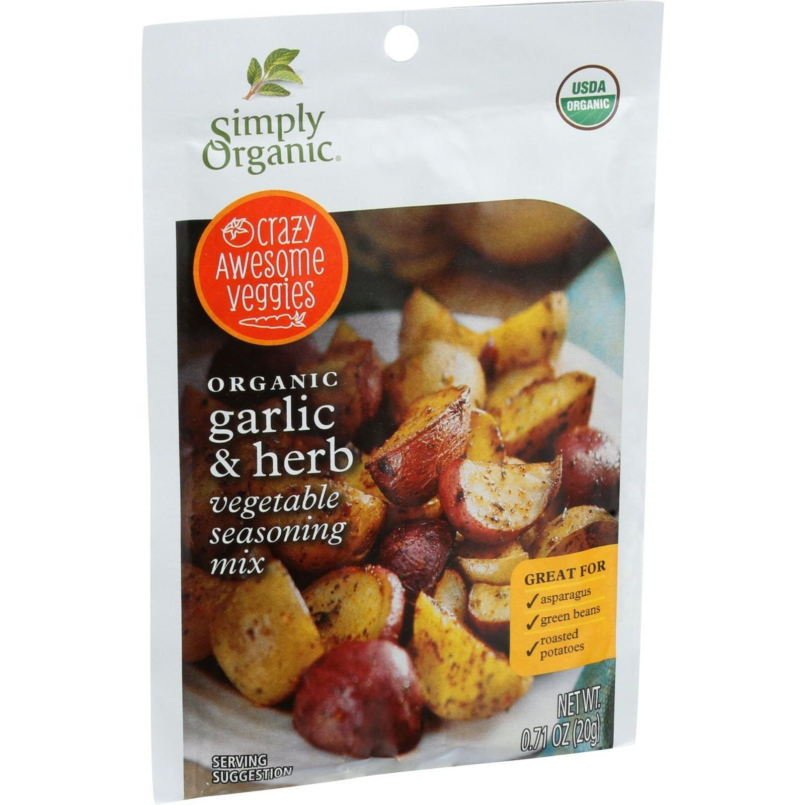 Simply Organic Garlic and Herb Vegetable Seasoning Mix, 0.71 Ounce - 12 per case. by Simply Organic