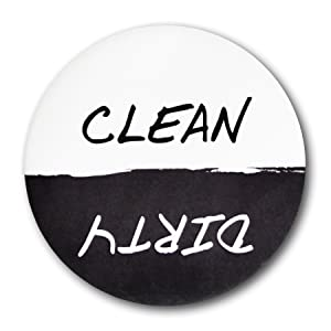 "Home Advantage - Clean Dirty Dishwasher Magnet Sign, 3"" Diameter Black & White"