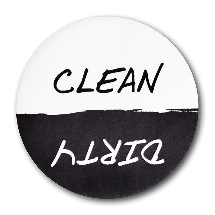 "Home Advantage - Clean Dirty Dishwasher Magnet Sign, 3"" Diameter Black & White"