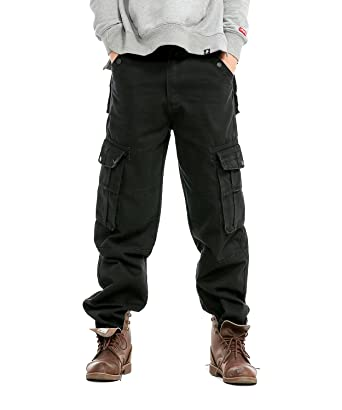 e961862c Idopy Men`s Loose Fit Motorcycle Multi-Pockets Workwear Denim Cargo Jeans  Plus Size