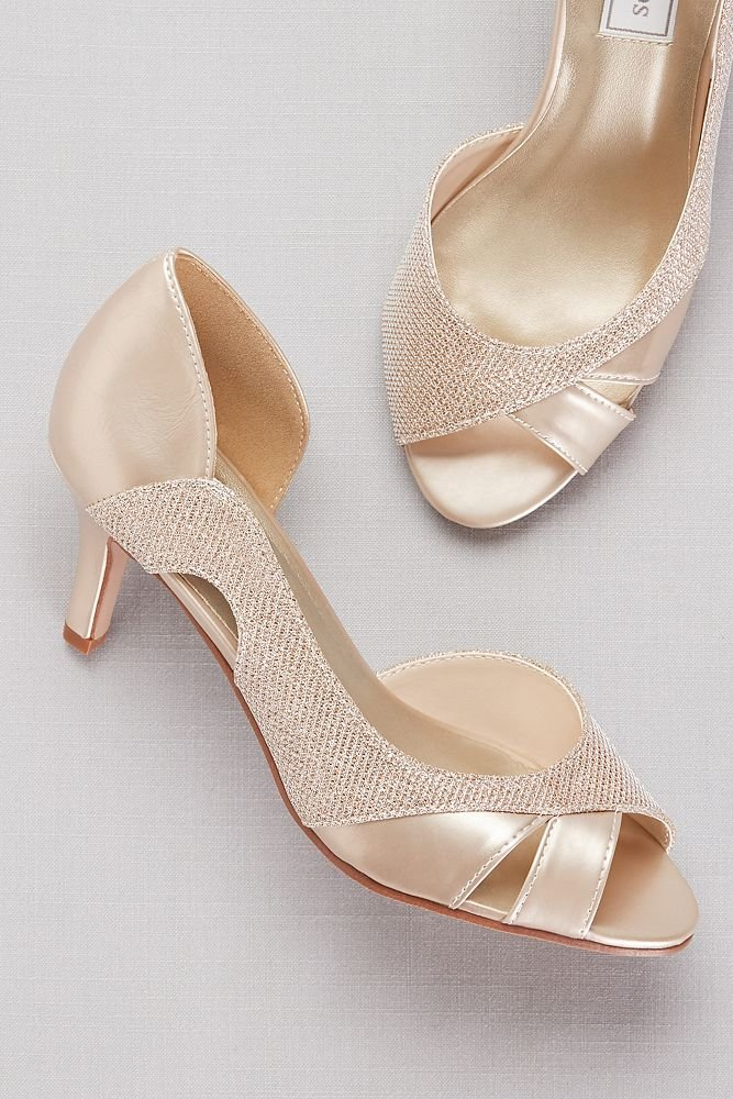 David's Bridal Metallic D Orsay Heels with Metallic Fabric Inset Style Charlie, Pewter, 10 by David's Bridal (Image #4)