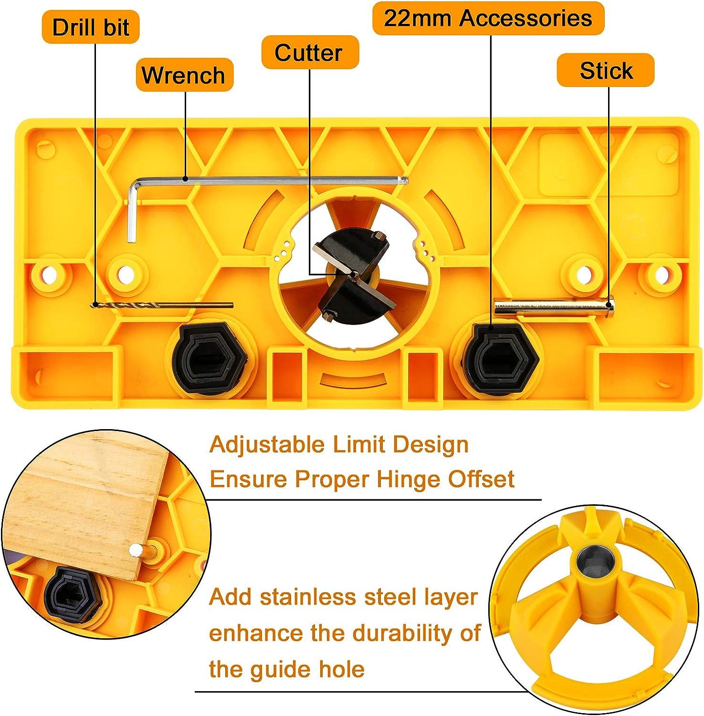Hinge Drilling Jig Hole Guide Woodworking Tools for Kitchen Cabinet Doors Hinge Hakkin 35mm Hinge Jig