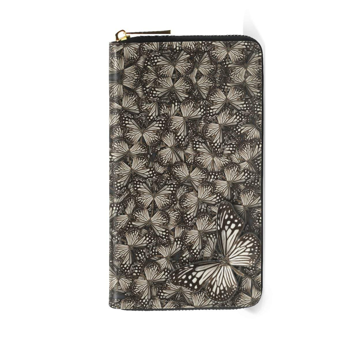 Zip Around White Tiger Butterflys Leather Clutch Purses Travel Passport Wallet Handbag