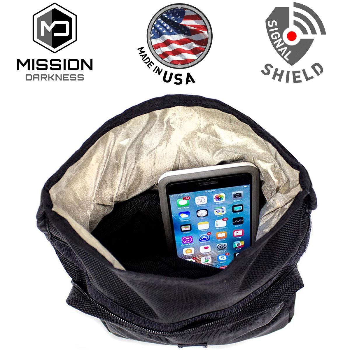 Mission Darkness MOLLE Faraday Pouch - for Law Enforcement and Military. Attaches to Any Bag with MOLLE Webbing. Signal Blocking/Anti-Tracking/Data Privacy for Phones, Tablets, and Other Devices by Mission Darkness