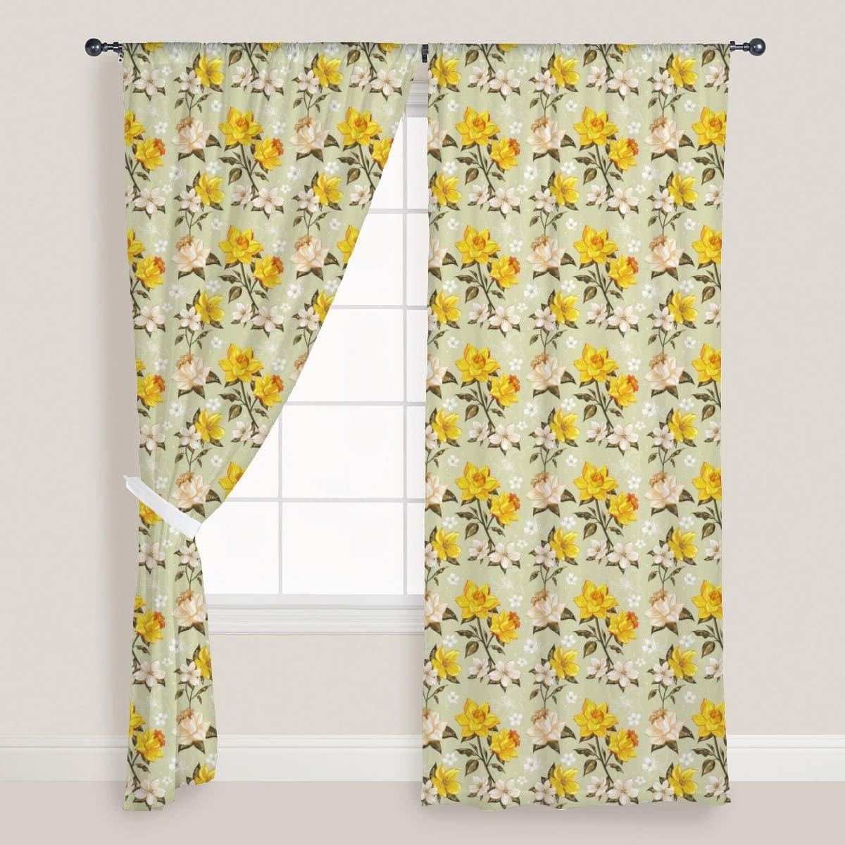 AZ Dotted Lineart Door & Window Curtain Satin 4feet x 8feet; SET OF 3 PCS