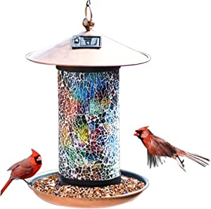 XDW-GIFTS Solar Bird-Feeder for Outside Hanging Outdoor - Solar Powered Garden Lantern Light Bird-House Wild Hanging Birdfeeder Waterproof Unique Retro Mosaic Copper Bird Feeder (Blue-Green)