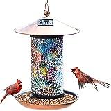 XDW-GIFTS Solar Bird-Feeder for Outside Hanging Outdoor - Solar Powered Garden Lantern Light Bird-House Wild Hanging…