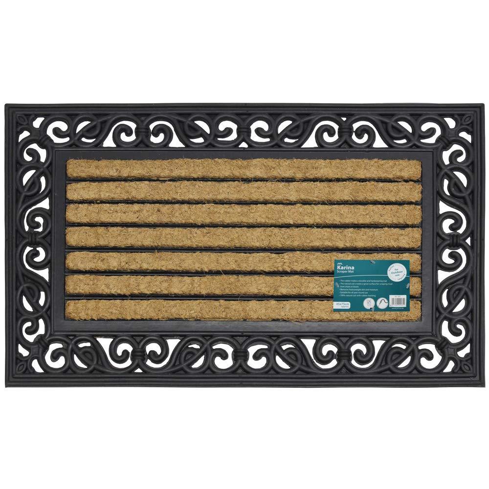 JVL Karina Heavy Duty Rubber Coir Door Mat, Rattan, Brown, 45 x 75 cm 02-180
