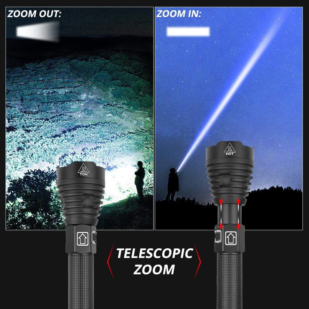 Lampe de Poche LED Ultra Puissante LED 8000 Lumen Grande Tactique Lampe Torche Rechargeable Zoomable 3 Modes Lampe Torche /étanche pour Camping Urgence Ext/érieur