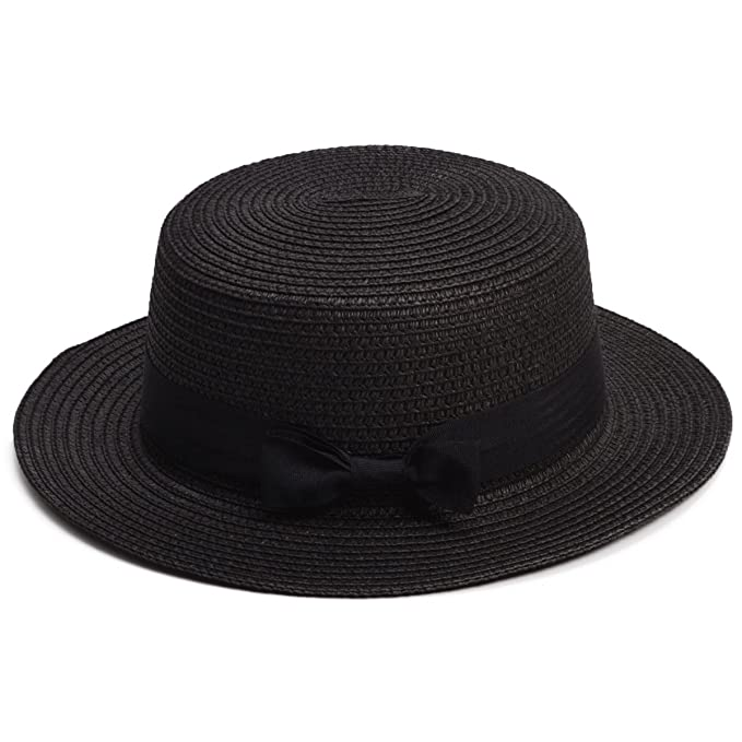 Tea Party Hats – Victorian to 1950s Lawliet Womens Mini Straw Boater Hat Fedora Panama Flat Top Ribbon Summer A456 $10.99 AT vintagedancer.com