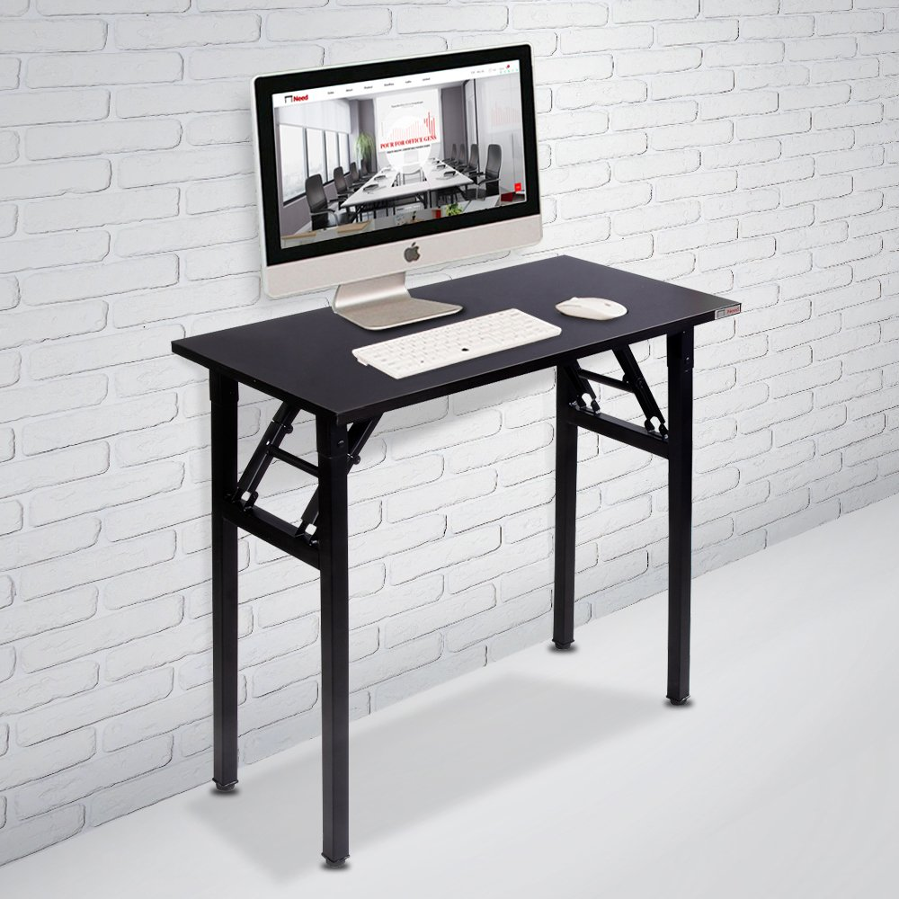 Need Small Computer Desk Folding Table 31 1/2'' Length No Assembly Sturdy and Heavy Duty Writing Desk for Small Spaces and Small Folding Desk -Damage Free Deliver(Black Walnut) AC5CB8040