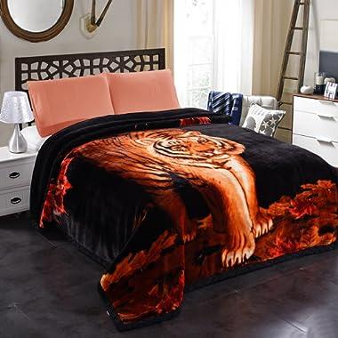 JML 10 Pounds Heavy Plush Soft Blankets for Winter, Korean Style Mink Velvet Fleece Blanket – 2 Ply A&B Printed Raschel Bed Blanket 85  x 93  (Tigers)