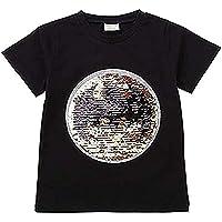 yesimoula Camiseta algodón Infantil Camiseta Lentejuelas Reversible niños y niñas