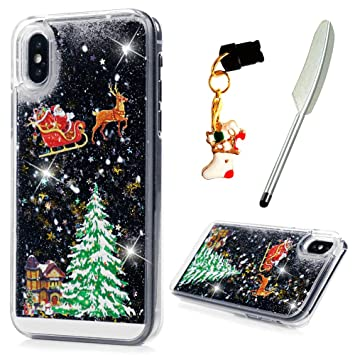 Christmas Iphone X Case.Ivoyi Iphone X Case Christmas Iphone Xs Phone Case Protective Clear Shiny Glitter Liquid Floating Hard Plastic Xmas Cover For Iphone X Iphone Xs