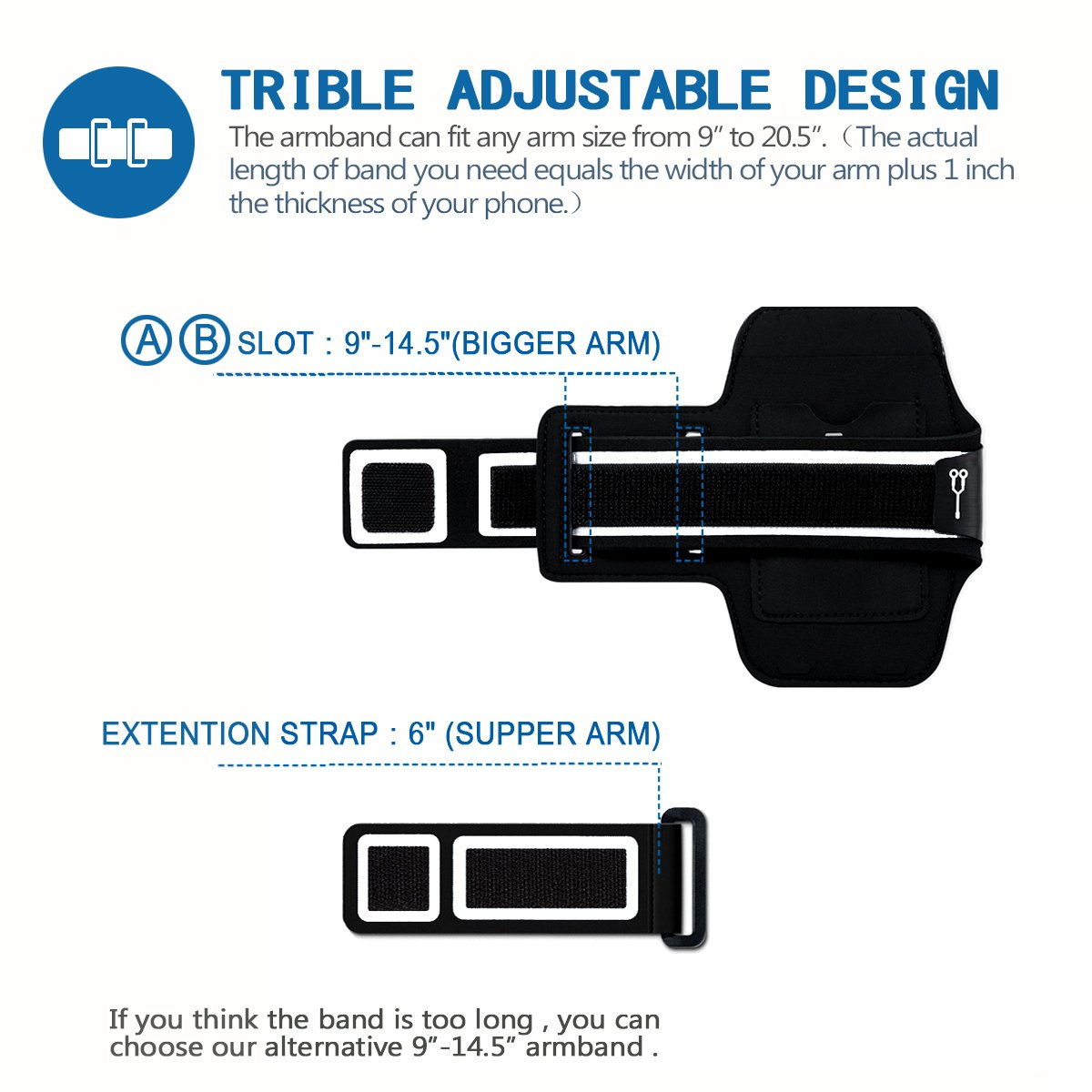 Ariband L Samsung S9 S8 S8 Plus S7//S6 Edge,T/él/éphone Jusqu/à 6.2 Pouces PORTHOLIC Universel Brassard de Sport iPhone X//8 Plus//7 Plus//6 Plus//6s Plus Anti-Sueur,avec Porte-Cl/és/&Carte