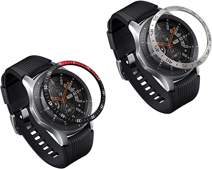 Greaciary 2Pack Bezel Styling for Galaxy Watch 46mm/Galaxy Gear S3 Frontier&Classic Bezel Ring Adhesive Cover Anti Scratch Aluminium Stainless Steel Protection for Galaxy Watch Accessory