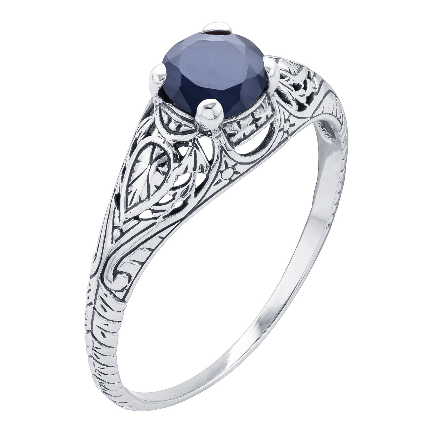 10k White Gold Vintage Style Genuine Round Sapphire Scroll Ring by Instagems (Image #2)