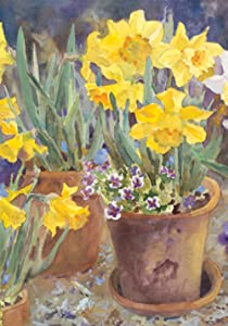 Toland Home Garden Potted Daffodils 12.5 x 18 Inch Decorative Spring Summer Yellow Flower Garden Flag