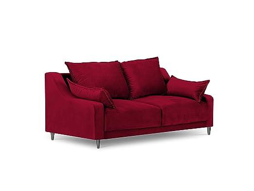 Mazzini Sofas de Terciopelo, Lila, 2 plazas, Rojo, 150 x 94 ...