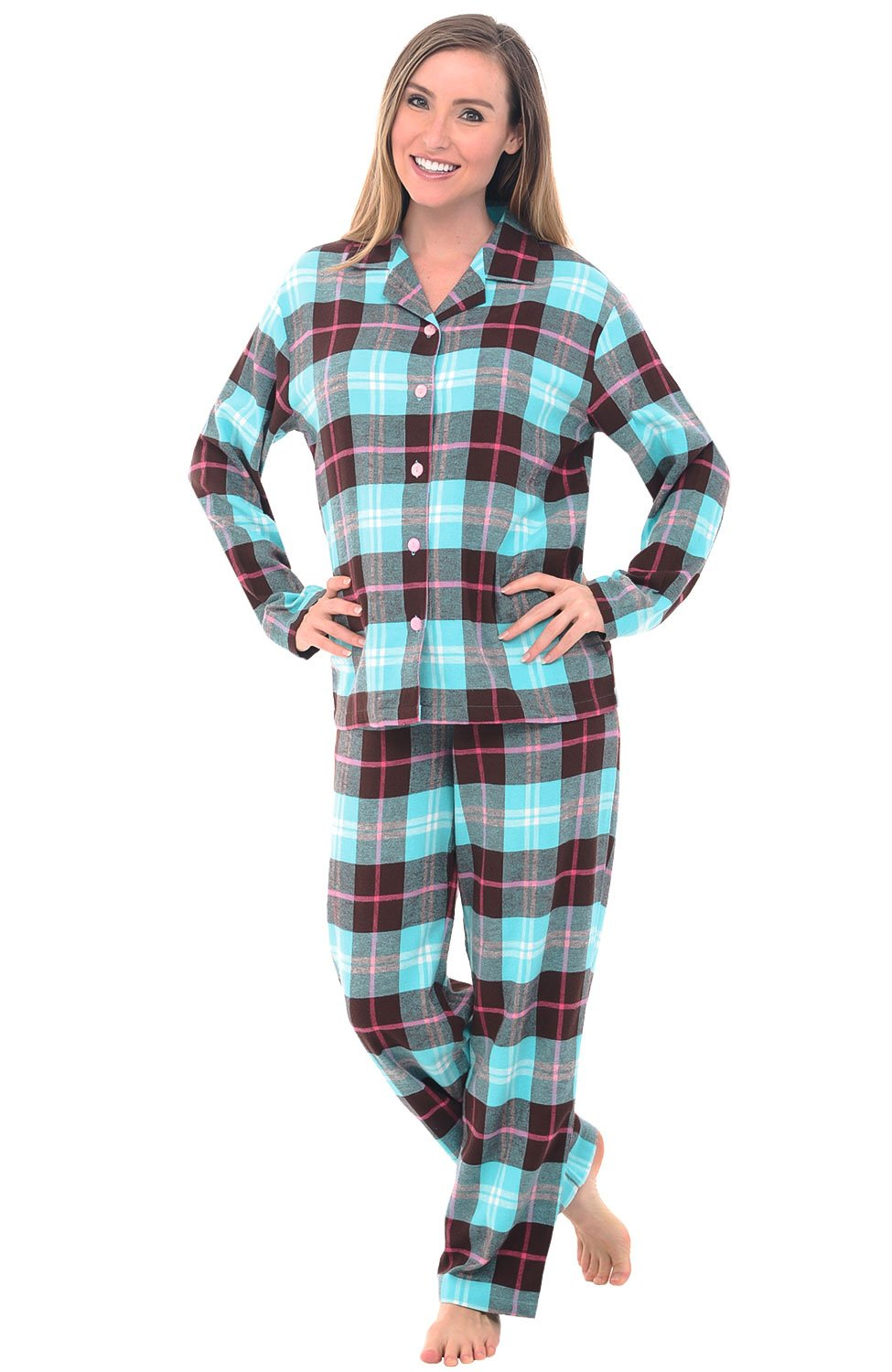 626329a9a5fd Galleon - Alexander Del Rossa Womens Flannel Pajamas