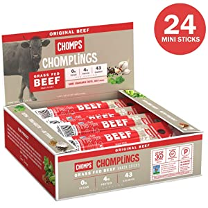 CHOMPS MINI Grass Fed Beef Jerky Meat Snack Sticks | Keto Certified, Whole30 Approved, Paleo, Low Carb, High Protein, Gluten Free, Sugar Free, Non-GMO | 43 Calorie 0.5 Oz Sticks, Original Beef 24 Pack