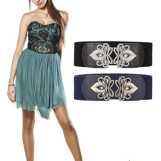 Lalafancy 2 Stück Breit Elastische Taillengürtel Damengürtel Vintage Damen Stretch Kleid Gürtel