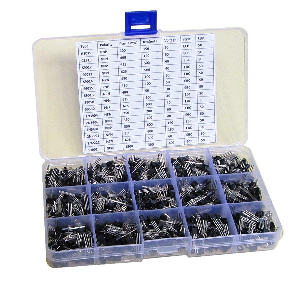 MagiDeal Pack of 750pcs General Signal Bipolar Transistor TO-92 Assortment Box Kit