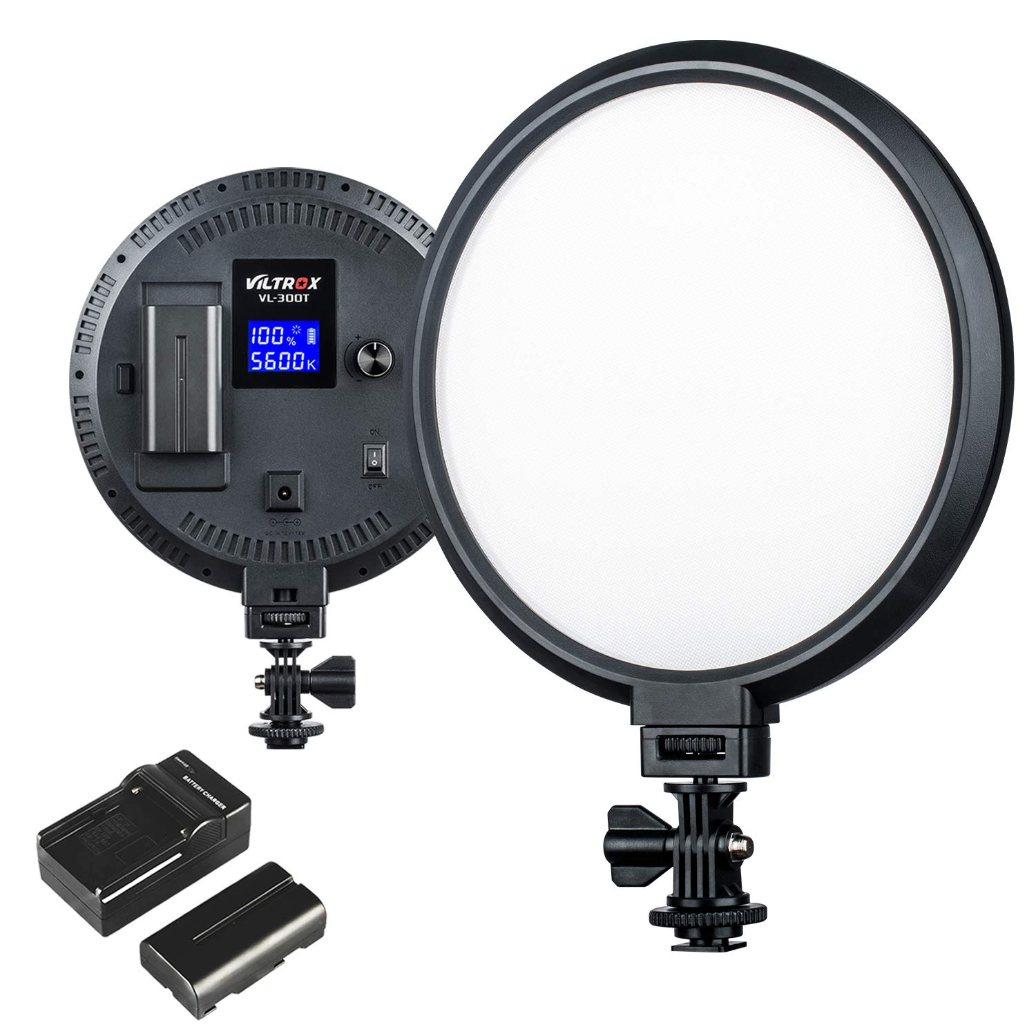 VILTROX VL-300T Bi-Color LED Camera Video Light, Dimmable Edge Flapjack Photo Light 8-Inch Round for Digital DSLR Camera and Camcorder with CRI 95+, 3300K~5600K, Battery and Charger Included