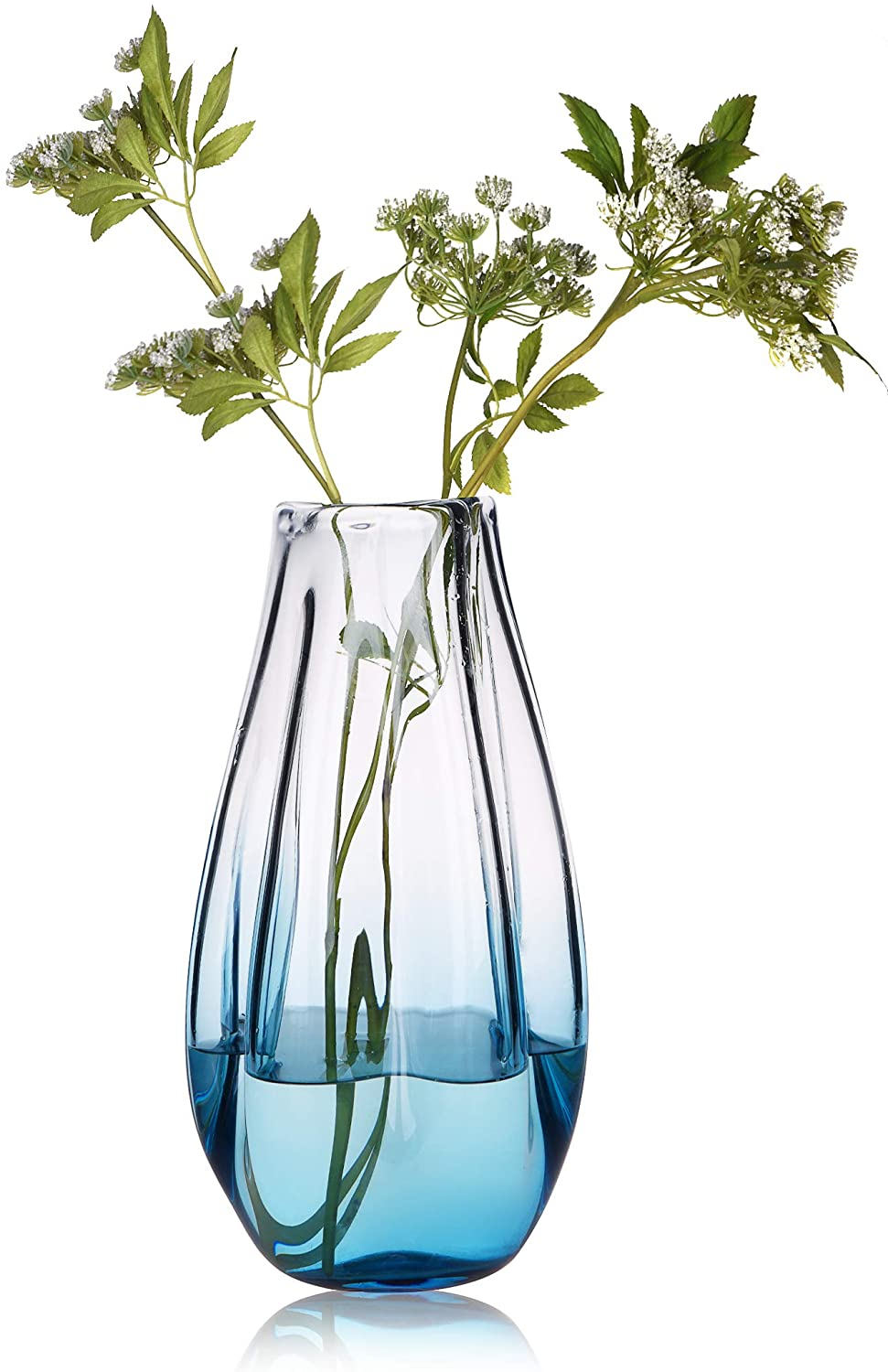 CONVIVA Glass Vase for Home Decor,Hand Blown Art Glass Tall Vase Organic Wrinkle Modern Flower Vase Centerpiece for Kitchen Table, Dining Room,Office Tabletop, Wedding Party,Blue 13 inch H