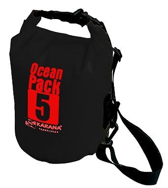 a0d7dda727e Karana Ocean Dry Pack Day Waterproof Travel Kayak Bag 5 Litre 5L Black   Amazon.co.uk  Clothing