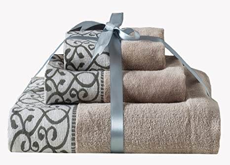 Xfxhome Bath Towel Set 100 Quality Cotton Elegant Soft And Absorbency Decorative Towel For Bathroom Machine Washable 3 Piece Brown